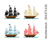 Sailing Ships Set. Vector illustration - stock vector