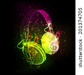 abstract headphones with note ...   Shutterstock .eps vector #201374705