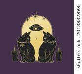 vintage mystic cats and candles ...   Shutterstock .eps vector #2013832898