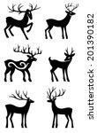 six deer set silhouettes... | Shutterstock . vector #201390182