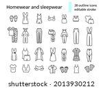 homewear and sleepwear outline...   Shutterstock .eps vector #2013930212