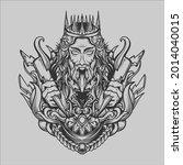 tattoo and t shirt design black ... | Shutterstock .eps vector #2014040015