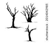 tree and bird raven silhouette  ... | Shutterstock .eps vector #2014042985