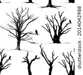 tree and bird raven silhouette... | Shutterstock .eps vector #2014042988
