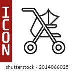 black line baby stroller icon... | Shutterstock .eps vector #2014066025