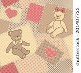seamless pattern with teddy... | Shutterstock .eps vector #201407732