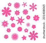 pink flowers silhouettes set | Shutterstock .eps vector #201408065