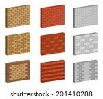 set of brick wall | Shutterstock .eps vector #201410288