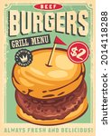 beef burger graphic on old... | Shutterstock .eps vector #2014118288