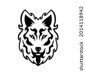 tribal wolf head logo. tattoo... | Shutterstock .eps vector #2014118942