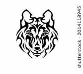 tribal wolf head logo. tattoo... | Shutterstock .eps vector #2014118945