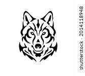 tribal wolf head logo. tattoo... | Shutterstock .eps vector #2014118948
