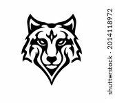tribal wolf head logo. tattoo... | Shutterstock .eps vector #2014118972