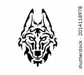 tribal wolf head logo. tattoo... | Shutterstock .eps vector #2014118978