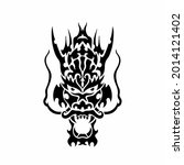 tribal dragon head logo. tattoo ... | Shutterstock .eps vector #2014121402