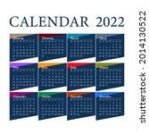 2022 year calendar. week starts ... | Shutterstock .eps vector #2014130522