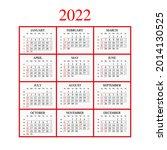 2022 year calendar with weeks... | Shutterstock .eps vector #2014130525