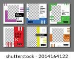 set of editable square banner... | Shutterstock .eps vector #2014164122