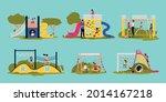flat set with children swinging ... | Shutterstock .eps vector #2014167218