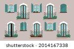 glazed windows and balconies on ... | Shutterstock .eps vector #2014167338