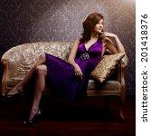 fashion luxury model in purple... | Shutterstock . vector #201418376