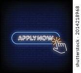 apply now neon signboard on...   Shutterstock .eps vector #2014218968
