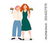 two lesbian girls are holding...   Shutterstock .eps vector #2014227575