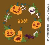 round frame for halloween with... | Shutterstock .eps vector #2014246238