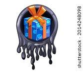 black slime frame and gift icon ... | Shutterstock .eps vector #2014248098