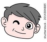 handsome boy head is winking...   Shutterstock .eps vector #2014304885