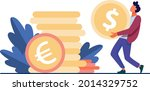 tiny guy carrying huge gold... | Shutterstock .eps vector #2014329752