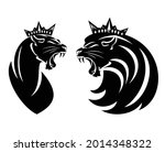 Roaring Lion And Lioness With...