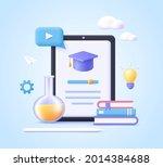 concept of mobile learning  e... | Shutterstock .eps vector #2014384688