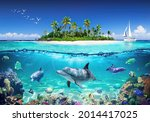 3d Wallpaper Dolphins Floating...