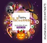 happy halloween banner with... | Shutterstock .eps vector #2014476875