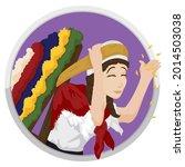 happy woman  or silletera ... | Shutterstock .eps vector #2014503038