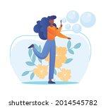 blowing soap bubbles concept....   Shutterstock .eps vector #2014545782
