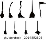 set of witch broom set on white ... | Shutterstock .eps vector #2014552805
