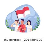youth celebrate indonesia's... | Shutterstock .eps vector #2014584302