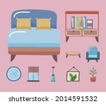 comfortable bed and home icon... | Shutterstock .eps vector #2014591532