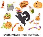 black kitten. candy  costumes ... | Shutterstock .eps vector #2014596032