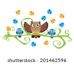 cartoon owls sitting on a... | Shutterstock .eps vector #201462596