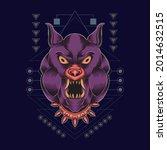 bulldog illustration sacred... | Shutterstock .eps vector #2014632515