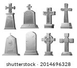 cartoon stone grave crosses and ... | Shutterstock .eps vector #2014696328