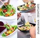 fresh vegetable salad collage   Shutterstock . vector #201471692