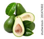 avocado with leaves on  white... | Shutterstock . vector #201474302