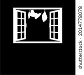 bat on the window silhouette... | Shutterstock .eps vector #2014778078
