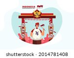 a young man celebrating... | Shutterstock .eps vector #2014781408