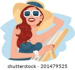 summer red haired girl in a...