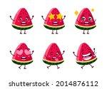 summer cute kawaii watermelon...   Shutterstock .eps vector #2014876112